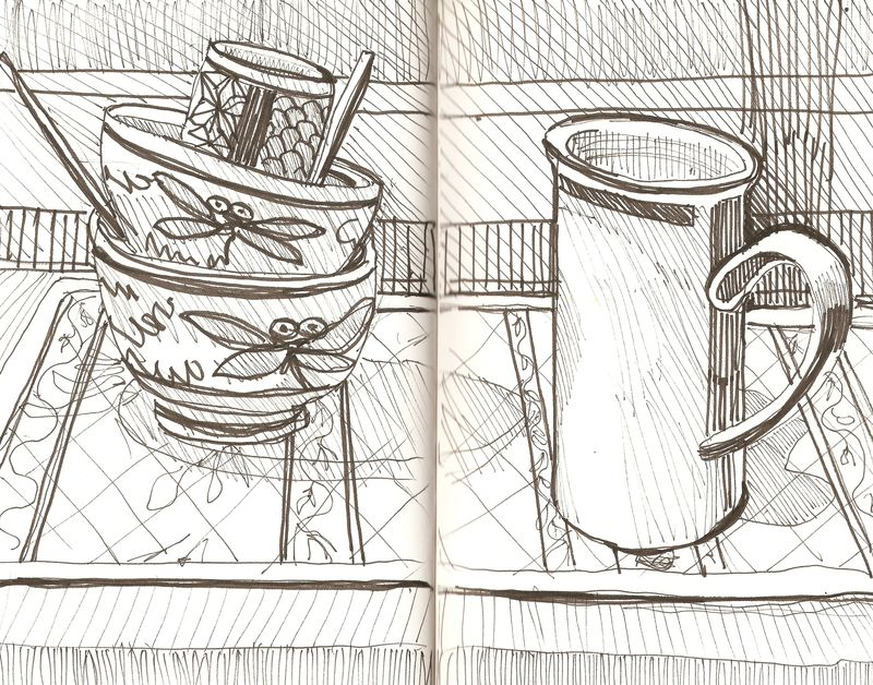 Dishes. pen drawing